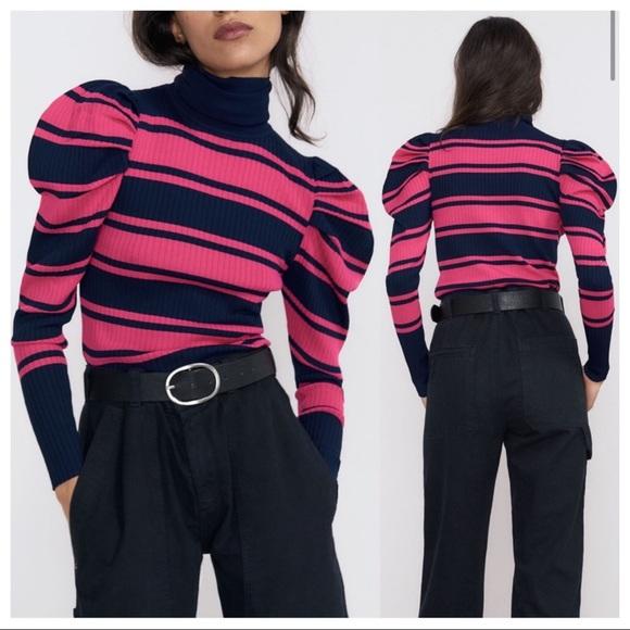 Zara Striped Puff Sleeve turtleneck